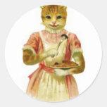 Gato que come el ratón con la bifurcación pegatinas