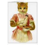 Gato que come el ratón con la bifurcación felicitacion