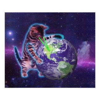 Gato que destruye el mundo con el laser del ojo cojinete