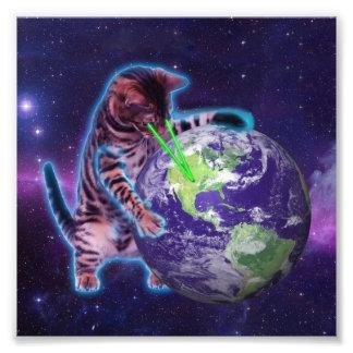 Gato que destruye el mundo con el laser del ojo fotografía