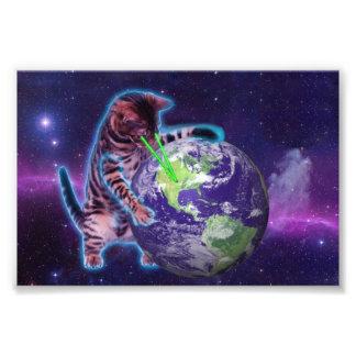 Gato que destruye el mundo con el laser del ojo fotografías