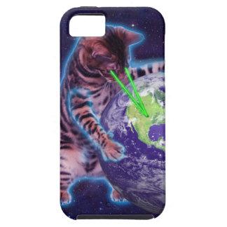 Gato que destruye el mundo con el laser del ojo funda para iPhone SE/5/5s