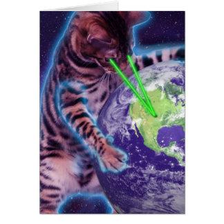 Gato que destruye el mundo con el laser del ojo tarjeta de felicitación
