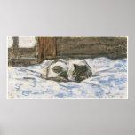 Gato que duerme en una cama, C. 1865-70 Poster