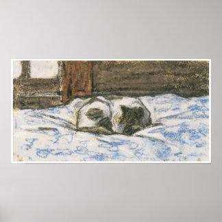 Gato que duerme en una cama, C. 1865-70 Póster
