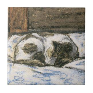 Gato que duerme en una cama de Claude Monet Azulejo Cuadrado Pequeño