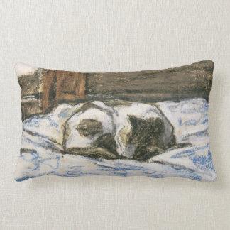 Gato que duerme en una cama de Claude Monet Almohadas
