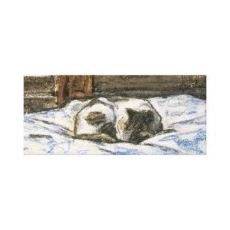 Gato que duerme en una cama de Claude Monet Impresión En Lienzo Estirada