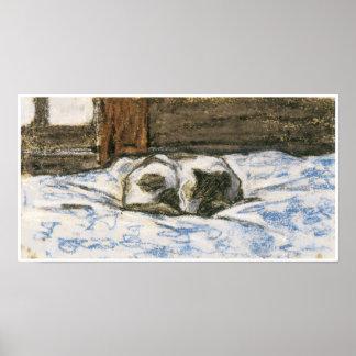 Gato que duerme en una cama de Claude Monet Posters