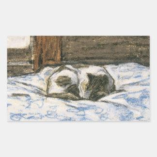 Gato que duerme en una cama de Claude Monet Rectangular Pegatina