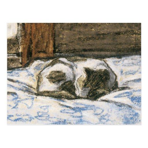 Gato que duerme en una cama de Claude Monet Postales