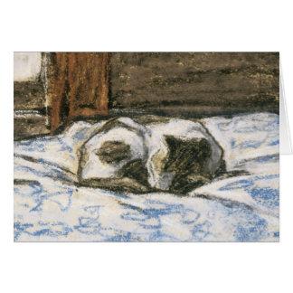 Gato que duerme en una cama de Claude Monet Tarjeta