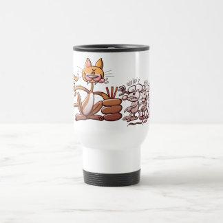 Gato que elige un ratón dibujando la paja corta taza de café