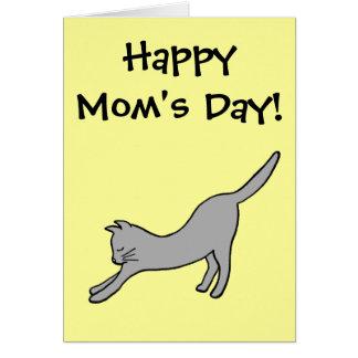 ¡Gato que estira gris el el día de la mamá feliz Tarjeta De Felicitación