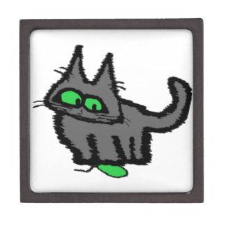 Gato que juega con un juguete del ratón cajas de recuerdo de calidad
