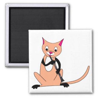 Gato que juega el Clarinet Imán Cuadrado