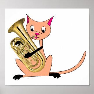 Gato que juega el Euphonium Impresiones