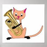 Gato que juega el Euphonium Póster