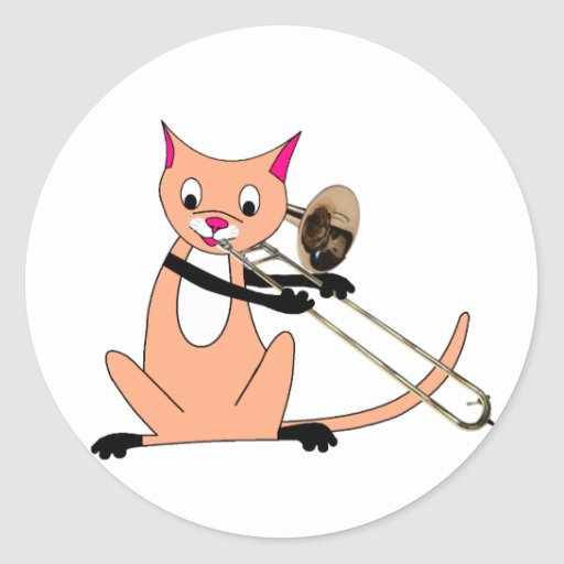 Gato que juega el Trombone Etiquetas Redondas