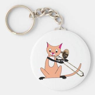 Gato que juega el Trombone Llaveros Personalizados