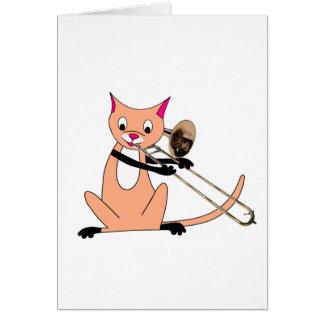 Gato que juega el Trombone Tarjeta De Felicitación