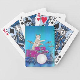 Gato que juega los tambores - naipes azules
