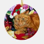 Gato que lleva el gorra de Papá Noel - ornamento Ornamento De Reyes Magos