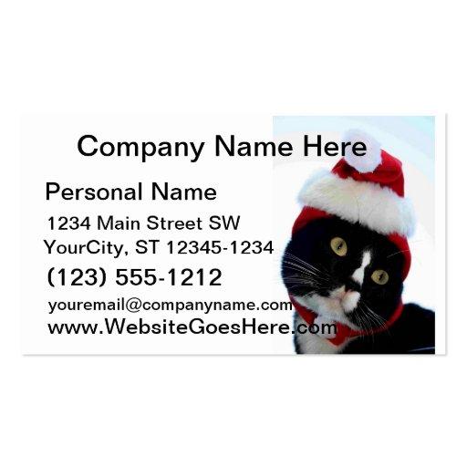 Gato que lleva la fotografía del gorra de santa, tarjetas de visita