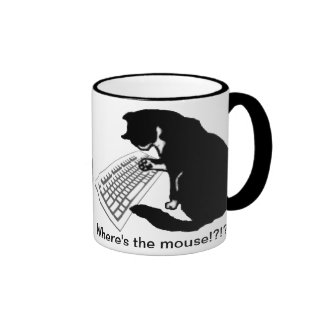 Gato que mecanografía tazas