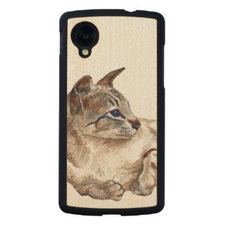 gato que miente abajo caja del teléfono del nexo 5 funda de nexus 5 carved® slim de arce