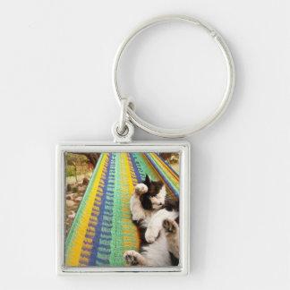 Gato que miente en hamaca mexicana maya llavero cuadrado plateado