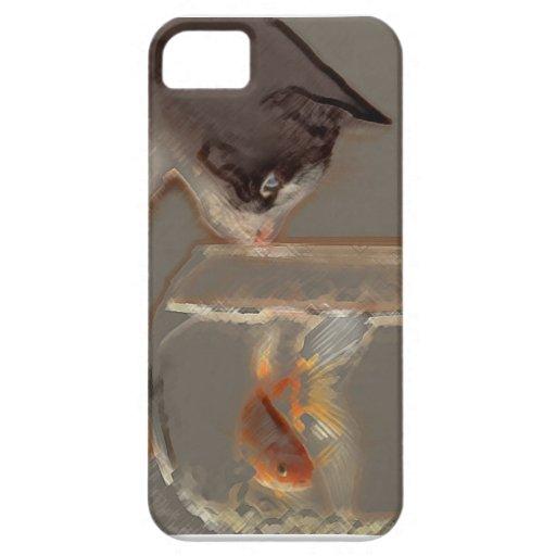Gato que mira el cuenco del Goldfish iPhone 5 Cobertura