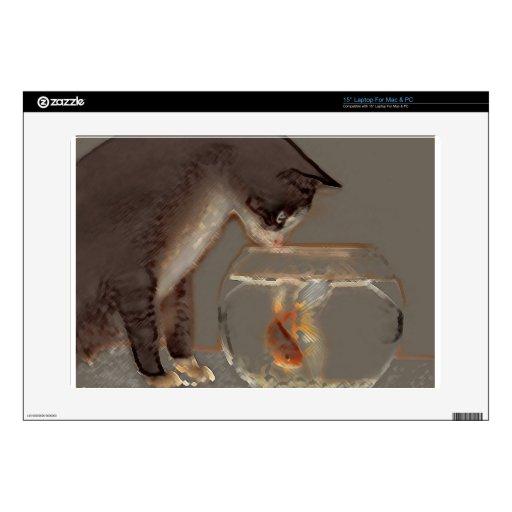 Gato que mira el cuenco del Goldfish Portátil Calcomanía