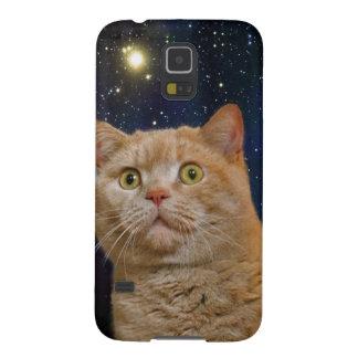 Gato que mira fijamente el universo carcasa galaxy s5