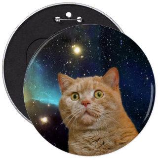 Gato que mira fijamente el universo pin redondo de 6 pulgadas