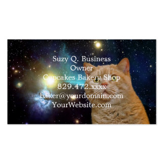 Gato que mira fijamente el universo tarjetas de visita
