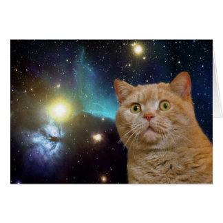 Gato que mira fijamente el universo tarjeta de felicitación