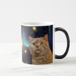 Gato que mira fijamente el universo taza mágica