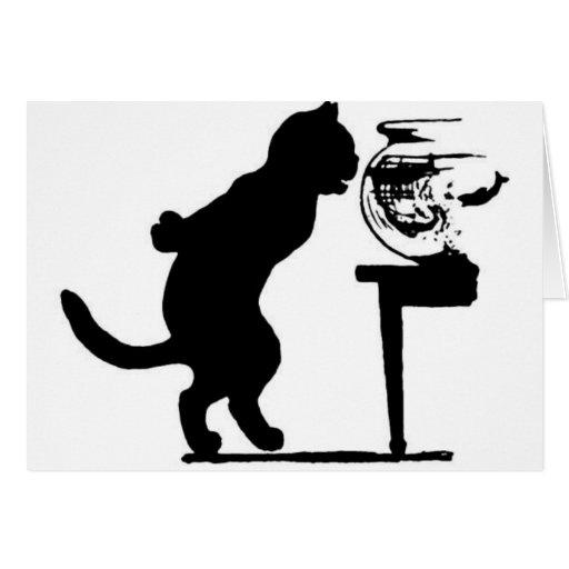 Gato que mira fijamente en silueta negra y blanca  tarjeta de felicitación