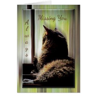 Gato que mira hacia fuera la ventana que le falta  tarjeta de felicitación