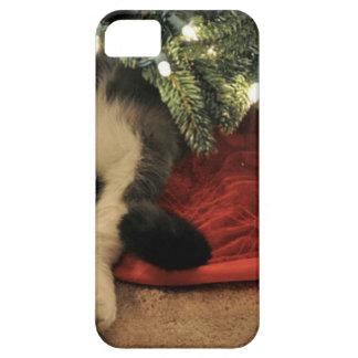 Gato que oculta debajo del árbol de navidad iPhone 5 carcasa