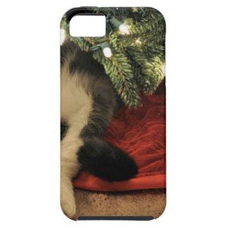 Gato que oculta debajo del árbol de navidad iPhone 5 fundas