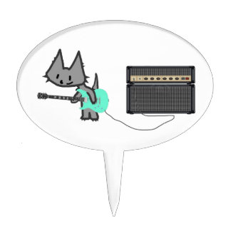 Gato que oscila su guitarra palillos de tarta