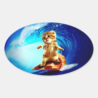 Gato que practica surf de la pizza pegatina ovalada
