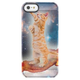 Gato que practica surf del tocino en el universo funda clearly™ deflector para iPhone 5 de uncommon