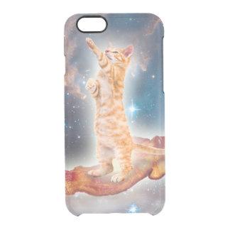 Gato que practica surf del tocino en el universo funda clearly™ deflector para iPhone 6 de uncommon