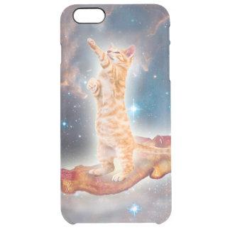 Gato que practica surf del tocino en el universo funda clearly™ deflector para iPhone 6 plus de unc
