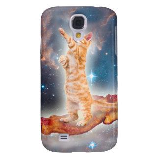 Gato que practica surf del tocino en el universo funda para galaxy s4