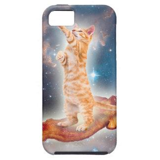 Gato que practica surf del tocino en el universo iPhone 5 funda
