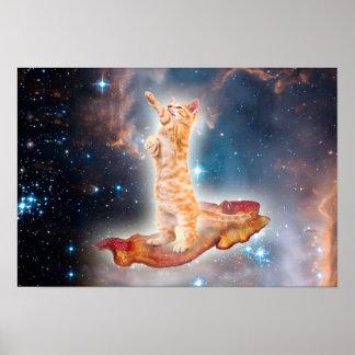 Gato que practica surf del tocino en el universo